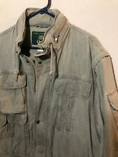 ORVIS Mens Army Green Utility Jacket / Vest Outdoors Packable Hood Size Large