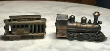 "2 Miniature Trains 2.5""x 1.5"" Brass San Francisco Cable Car & 3"" x 1 3/4""Engine"