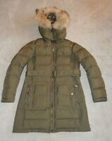 Burberry Brit Olive Green Quilted Down Racoon Fur Hooded Jacket Coat Medium
