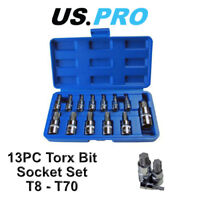 "US PRO 13pc Torx Bit Socket Set T8 - T70  1/4"" 3/8"" 1/2"" Drive 2067"