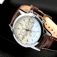 Men's 3-Sub-Dial Leather Band Date Sport Dial Analog Quartz Military Wrist Watch