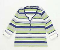 M&Co Womens Size XL Striped Cotton Blend Multi-Coloured Top (Regular)
