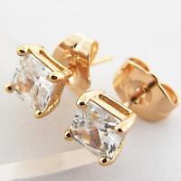 STUD EARRINGS GENUINE 18K ROSE G/F GOLD PRINCESS CUT DIAMOND SIMULATED DESIGN