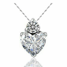 """SILVER - CLEAR CRYSTAL LOVE-HEART PENDANT ON A SILVER 18"""" OR 46CM """"TRACE"""" CHAIN"""