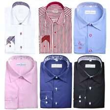 Mens Designer Formal Italian Regular Fit Shirt Contrast S M L XL XXL 3XL 4XL