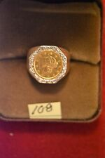 14k gold and diamond ring with authentic U.S.$1.00 gold coin