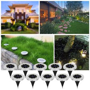 8LED Solarleuchte Bodenstrahler Außen IP65 Gartenleuchten Garten Solarlampen