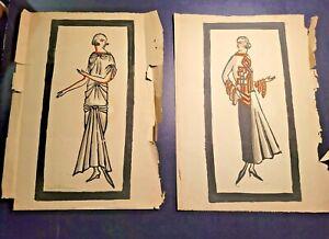 Orig Wiener Werkstatte Trude Hochmann Watercolor Fashion Illustrations1Signed NR