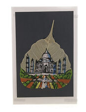 Carte postale peinture feuille de pipal Taj Mahal  GH