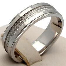 MENS 14KW GOLD MILGRAIN ROPE DESIGN WEDDING BAND 7.9GR