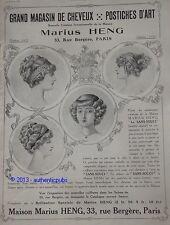 PUBLICITE 1911 MARIUS HENG POSTICHE CHEVEUX LE SANS SOUCI FRENCH HAIR AD