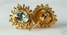 NEW 14K GOLD DIAMOND AQUAMARINE EARRINGS