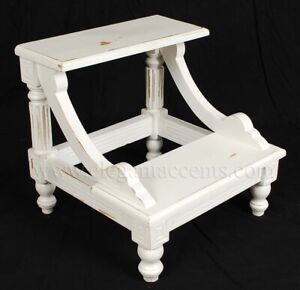 Victorian Bed Step - Hand Carved Solid Mahogany - White finish - Library