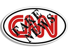 3x5 inch Oval CNN Stamped with FAKE NEWS Bumper Sticker - trump anti main media