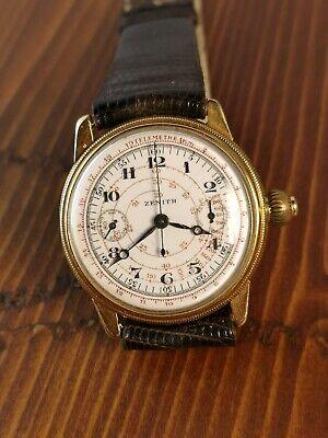 Zenith Rare Monopusher Chronograph Valjoux 13 Enamel Breguet Numeral Dial 1920s