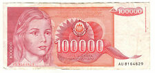 Yugoslavia 1989 - 100,000 Dinara Note -  Young woman
