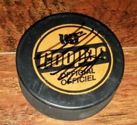 RARE PAUL COFFEY AUTOGRAPHED VINTAGE COOPER CANADIAN GAME-USED HOCKEY, PUCK AUTO