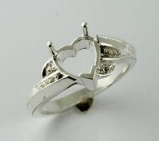 Semi Mount Exotic Ring Heart Shape 8 MM 925 Silver Eternity Festival Jewelry