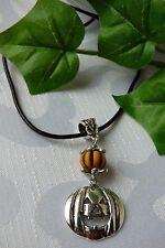 schöne Kürbis Halskette Echt Leder Kette Orange Braun Silber
