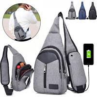Fashion Men Oxford Cloth Canvas Bag Chest Pack USB Charging Crossbody Waist Bags