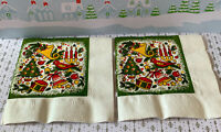 """2 Vintage Gibson Holiday Christmas Crepe Paper Cocktail Napkins 9x9""""in New"""