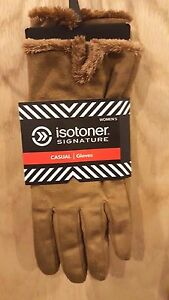 Isotoner Signature Luggage Micro Suede Gloves w/Silky Micro-Luxe Lining, XL- $40