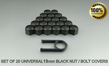 19mm Black Alloy Car Wheel Nut Bolt Covers Caps Set X20 For Vauxhall Astra Mk6