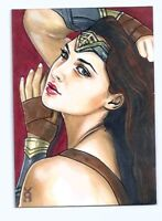 Marvel  Wonder Woman Gal Gadot Sketch Card ACEO PSC Veronica O'Connell