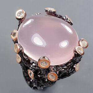 Jewelry Fine Art Rose Quartz Ring Silver 925 Sterling  Size 7 /R178583