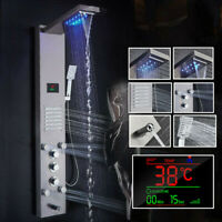 LED Thermostaic Shower Panel Tower Rain & Waterfall Massage Body System Sprayer