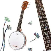Kmise Concert Banjo Ukulele Uke 4 String Musical Instrument 23 Inch Sapelli Wood
