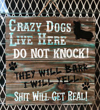 Custom Hand Painted Wood Sign made to order  Long Haired Dachshund Do Not Knock
