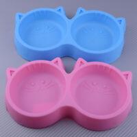 Plastic Dog Bowl Cat Puppy Pet Animal Non Slip Food Water Double Feeding Dish
