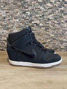 Nike Sneakers Black White Suede Dunk Sky Hi Essential Hidden Wedge Womens 6