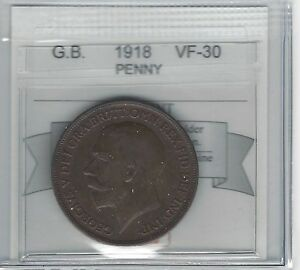 1918 Great Britain, Penny, Coin Mart Graded **VF-30**