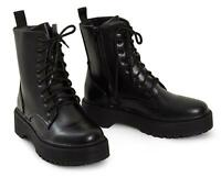 Shelikes Ladies Hi Top Platform Punk Ankle PU Military Leather Lace Up Boots