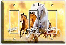 LIPIZZAN STALLION & MUSTANG HORSES TRIPLE GFI LIGHT SWITCH WALL PLATE ART COVER
