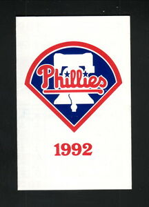 Philadelphia Phillies--1992 Pocket Schedule--CoreStates