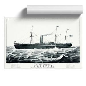 U.S. Mail Steam Ship Wall Art Poster Print Vintage N. Currier