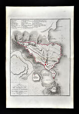 1818 D'Anville Map Ancient Syracuse Plan Fortifications Harbor Sicily Italy