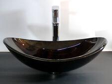 Design Aufsatz Glas Waschbecken Waschschale oval Waschtisch Bad schwarz braun