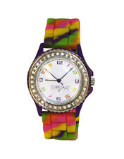 Nurse-Medical Multicolor Tie Dye Silicone Cancer Awareness Watch