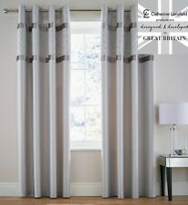 """Catherine Lansfield Sequin Cluster Silver Grey Fully Lined Curtains 66x72"""" 183cm"""
