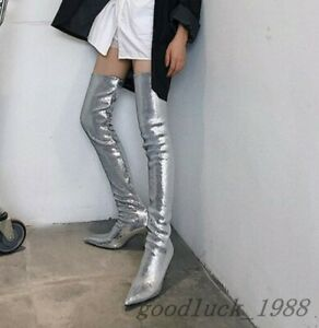 Women Glitter Pointed Toe Nightclub Party Shoes Kitten Heel Over the Knee Boot