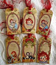 Vintage Raggedy Ann~6 Large Hang Tags~Scrapbooking~Cards~#42~judysjemscrafts