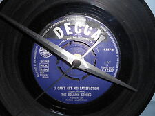 """THE ROLLING STONES-I CANT GET NO SATISFAC 7""""single recycled vinyl record clock"""