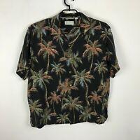Caribbean Shirt Size XL Silk Hawaiian Palm Trees Black Brown Green Aloha Mens
