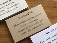 50 x KRAFT Wishing Well Cards - Printed And Cut - Wedding Invitations - DIY