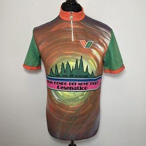 Vittore Gianni Vintage 1990 Gran Fondo Cycling Jersey Shirt Short Sleeve Men's L