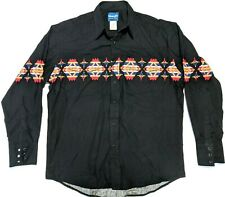 Wrangler Mens L Vtg Black Snap Western Rockabilly Shirt Southwest Pattern EUC
